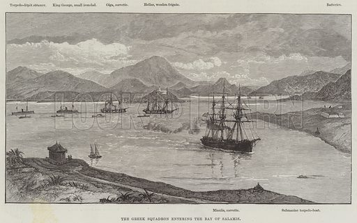 The Greek Squadron entering the Bay of Salamis. Illustration for The Illustrated London News, 24 April 1886.