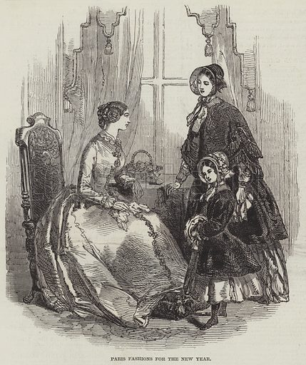Paris Fashions for the New Year. Illustration for The Illustrated London News, 8 January 1848.