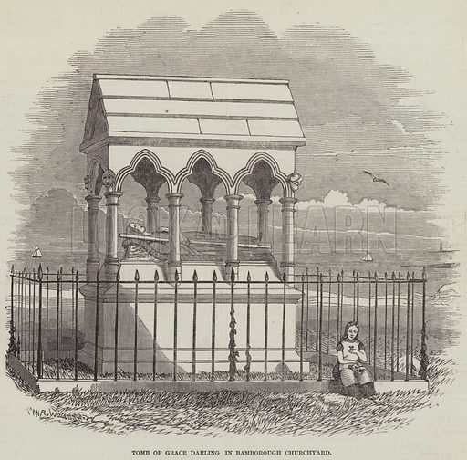 Tomb of Grace Darling in Bamborough Churchyard. Illustration for The Illustrated London News, 22 January 1848.