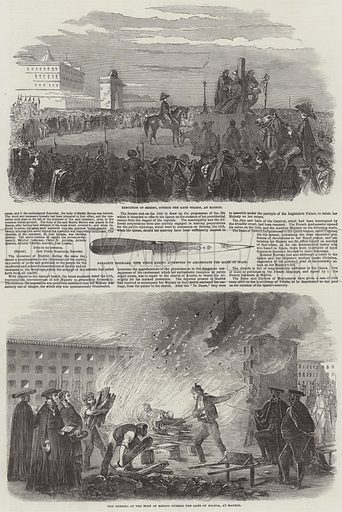 Burning of the Body of Merino at Madrid. Illustration for The Illustrated London News, 21 February 1852.