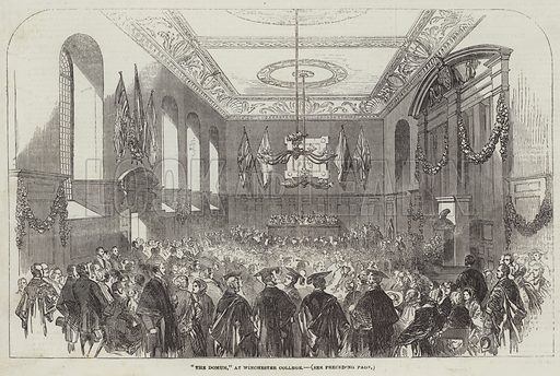 """""""The Domum,"""" at Winchester College. Illustration for The Illustrated London News, 22 July 1854."""