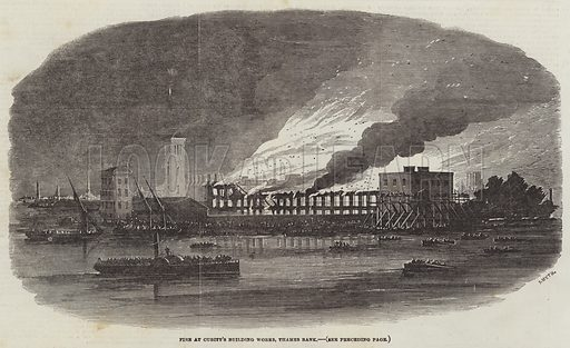 Fire at Cubitt's Building Works, Thames Bank. Illustration for The Illustrated London News, 26 August 1854.