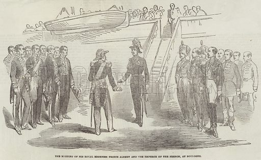 The Meeting of His Royal Highness Prince Albert and the Emperor of the French, at Boulogne. Illustration for The Illustrated London News, 9 September 1854.
