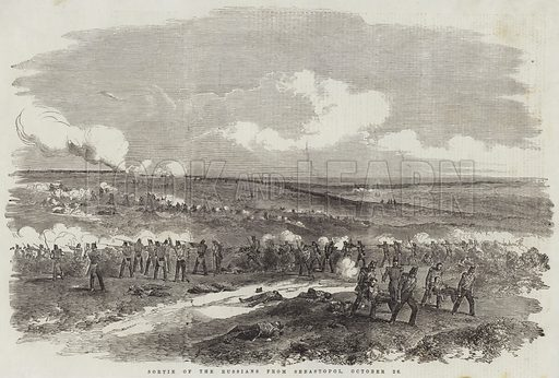 Sortie of the Russians from Sebastopol, 26 October. Illustration for The Illustrated London News, 25 November 1854.