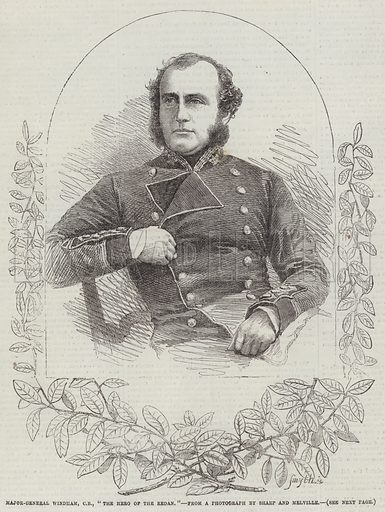 """Major-General Windham, CB, """"The Hero of the Redan"""". Illustration for The Illustrated London News, 6 October 1855."""