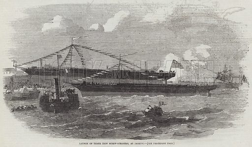 Launch of Three Iron Screw-Steamers, at Jarrow. Illustration for The Illustrated London News, 27 October 1855.
