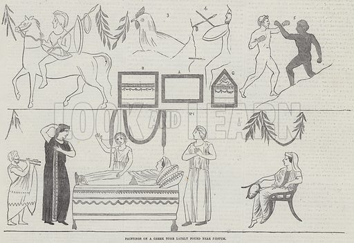 Paintings on a Greek Tomb lately found near Paestum. Illustration for The Illustrated London News, 10 November 1855.