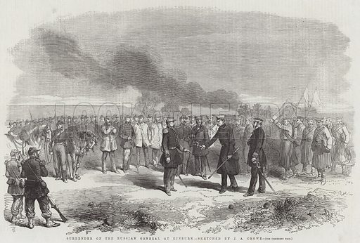Surrender of the Russian General at Kinburn. Illustration for The Illustrated London News, 24 November 1855.