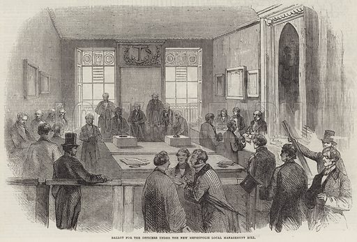 Ballot for the Officers under the New Metropolis Local Management Bill. Illustration for The Illustrated London News, 15 December 1855.