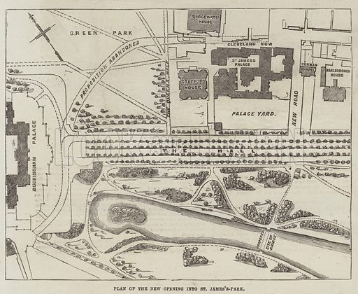 Plan of the New Opening into St James's-Park. Illustration for The Illustrated London News, 21 June 1856.