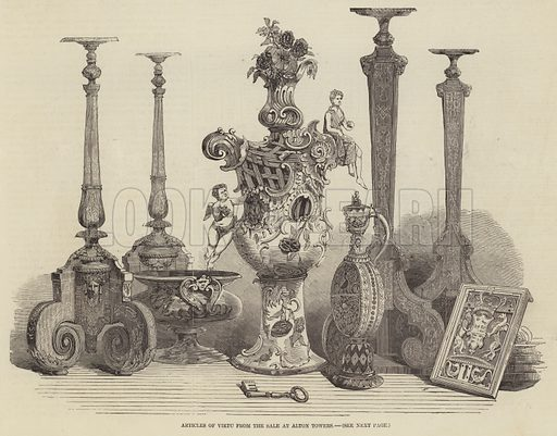 Articles of Virtu from the Sale at Alton Towers. Illustration for The Illustrated London News, 11 July 1857.