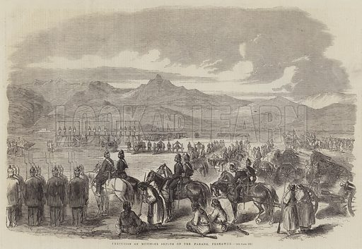 Execution of Mutinous Sepoys on the Parade, Peshawur. Illustration for The Illustrated London News, 3 October 1857.
