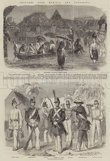 Sketches from Manilla and Hong-Kong. Illustration for The Illustrated London News, 17 October 1857.