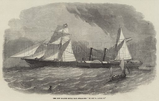 """The New Spanish Royal Mail Steam-Ship """"El Rey D Jayme II"""". Illustration for The Illustrated London News, 27 March 1858."""
