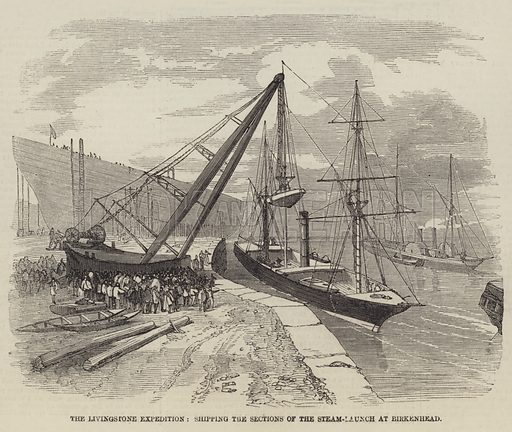 The Livingstone Expedition, Shipping the Sections of the Steam-Launch at Birkenhead. Illustration for The Illustrated London News, 3 April 1858.