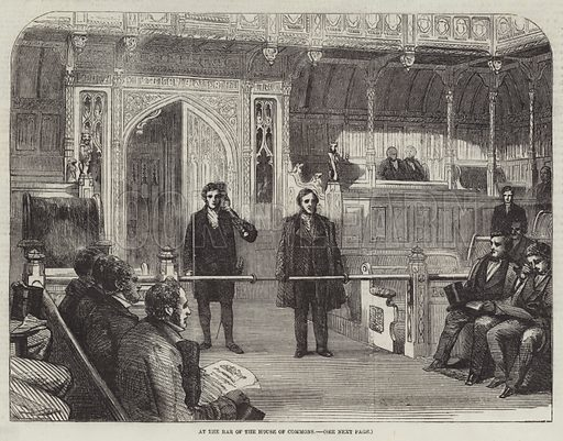 At the Bar of the House of Commons. Illustration for The Illustrated London News, 5 June 1858.