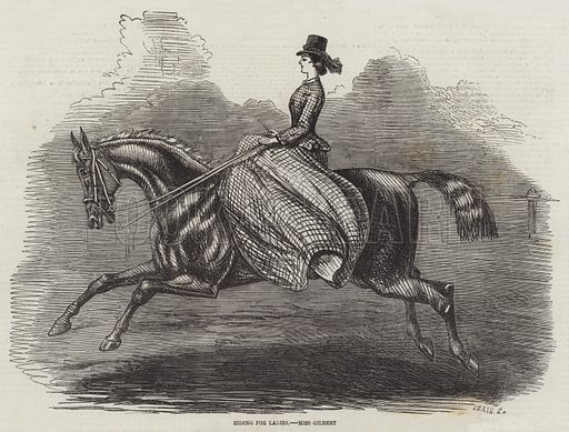 Riding for Ladies, Miss Gilbert. Illustration for The Illustrated London News, 12 June 1858.