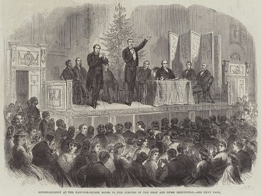 Entertainment at the Hanover-Square Rooms to the Inmates of the Deaf and Dumb Institution. Illustration for The Illustrated London News, 21 January 1865.