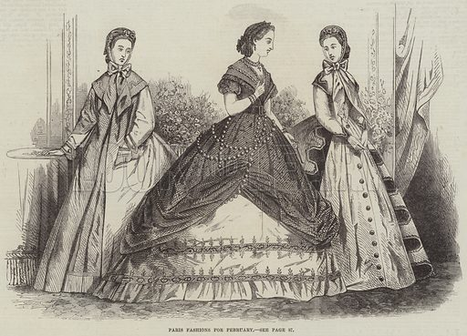 Paris Fashions for February. Illustration for The Illustrated London News, 28 January 1865.