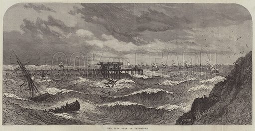 The late Gale at Tynemouth. Illustration for The Illustrated London News, 1 April 1865.