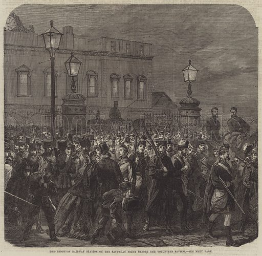 The Brighton Railway Station on the Saturday Night before the Volunteer Review. Illustration for The Illustrated London News, 29 April 1865.