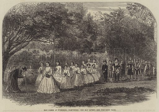 May Games at Wymering, Hampshire, the May Queen. Illustration for The Illustrated London News, 10 June 1865.