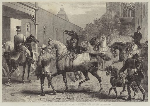 Arrivals for the Horse Show at the Agricultural Hall, Islington. Illustration for The Illustrated London News, 15 July 1865.