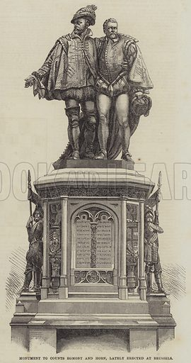 Monument to Counts Egmont and Horn, lately erected at Brussels. Illustration for The Illustrated London News, 12 August 1865.
