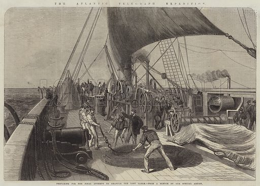 The Atlantic Telegraph Expedition, preparing for the Final Attempt to grapple the Lost Cable. Illustration for The Illustrated London News, 2 September 1865.