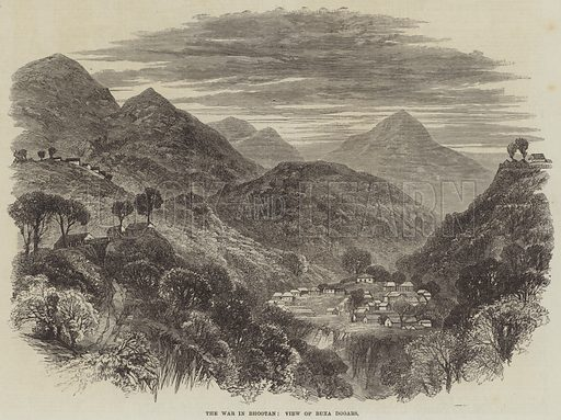 The War in Bhootan, View of Buxa Dooars. Illustration for The Illustrated London News, 30 September 1865.