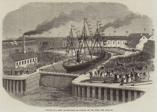 Opening of a New Graving-Dock at Jarrow, on the Tyne. Illustration for The Illustrated London News, 14 October 1865.