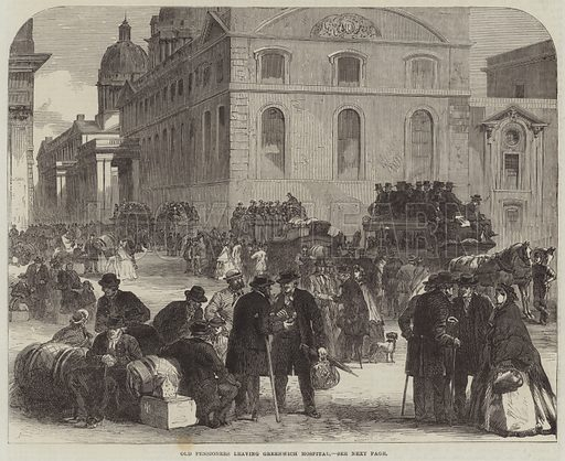 Old Pensioners leaving Greenwich Hospital. Illustration for The Illustrated London News, 21 October 1865.