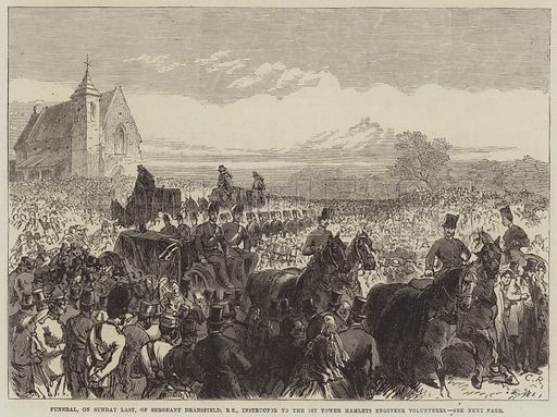 Funeral, on Sunday Last, of Sergeant Dransfield, RE, Instructor to the 1st Tower Hamlets Engineer Volunteers. Illustration for The Illustrated London News, 21 October 1865.