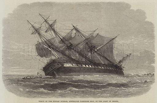 Wreck of the Duncan Dunbar, Australian Passenger Ship, on the Coast of Brazil. Illustration for The Illustrated London News, 2 December 1865.