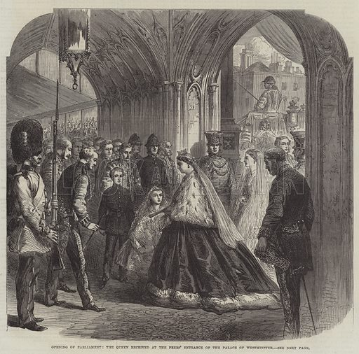Opening of Parliament, the Queen received at the Peers' Entrance of the Palace of Westminster. Illustration for The Illustrated London News, 16 February 1867.