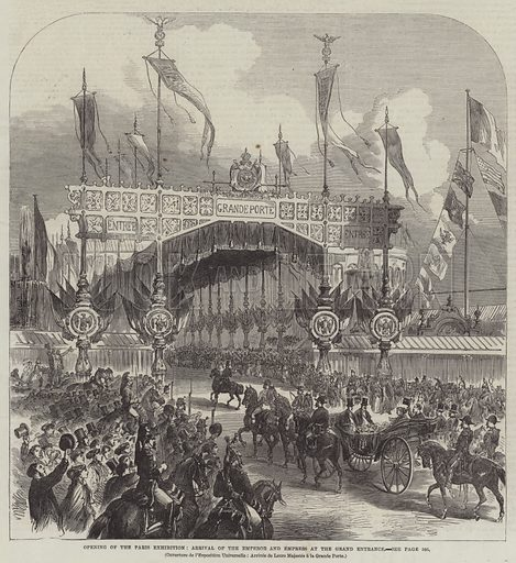 Opening of the Paris Exhibition, Arrival of the Emperor and Empress at the Grand Entrance. Illustration for The Illustrated London News, 13 April 1867.