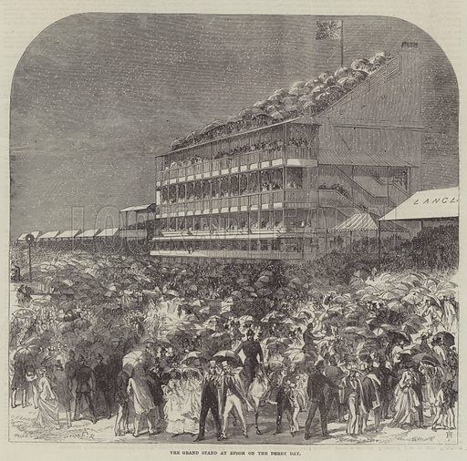 The Grand Stand at Epsom on the Derby Day. Illustration for The Illustrated London News, 1 June 1867.