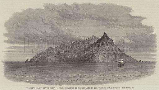 Pitcairn's Island, South Pacific Ocean, inhabited by Descendants of the Crew of HMS Bounty. Illustration for The Illustrated London News, 1 June 1867.