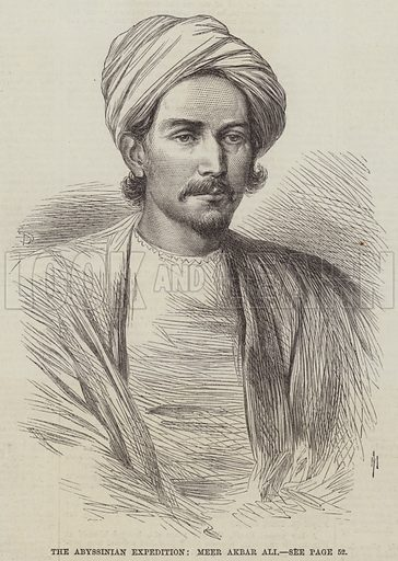 The Abyssinian Expedition, Meer Akbar Ali. Illustration for The Illustrated London News, 18 July 1868.
