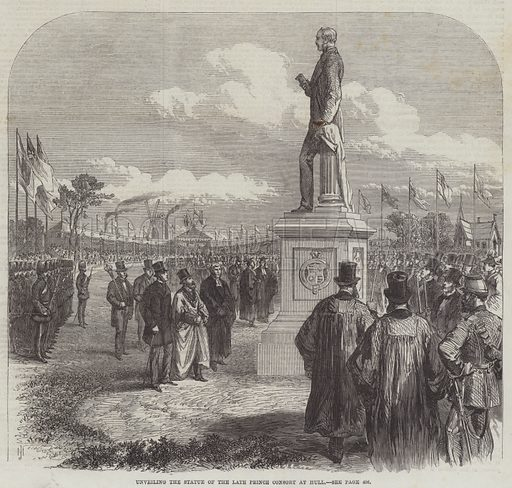 Unveiling the Statue of the late Prince Consort at Hull. Illustration for The Illustrated London News, 24 October 1868.