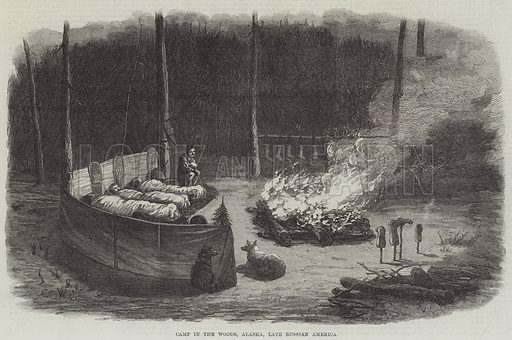 Camp in the Woods, Alaska, late Russian America. Illustration for The Illustrated London News, 21 November 1868.