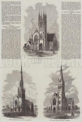 Various Churches. Illustration for The Illustrated London News, 21 November 1868.