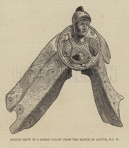 Bronze Prow of a Roman Galley from the Battle of Actium, BC 31. Illustration for The Illustrated London News, 23 January 1875.