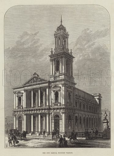 The City Temple, Holborn Viaduct. Illustration for The Illustrated London News, 6 February 1875.