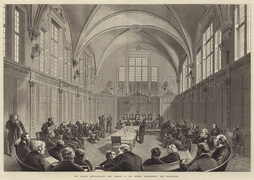 The London School-Board's New Offices on the Thames Embankment, the Board-Room. Illustration for The Illustrated London News, 10 April 1875.