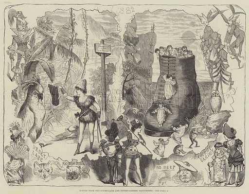 Scenes from the Drury-Lane and Covent-Garden Pantomimes. Illustration for The Illustrated London News, 7 January 1882.