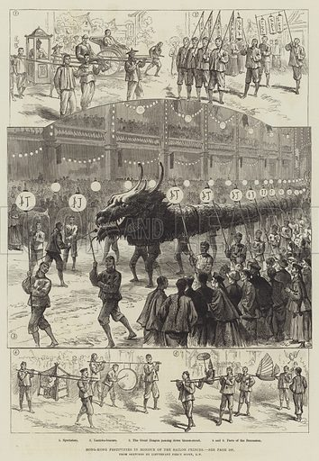 Hong-Kong Festivities in Honour of the Sailor Princes. Illustration for The Illustrated London News, 25 February 1882.