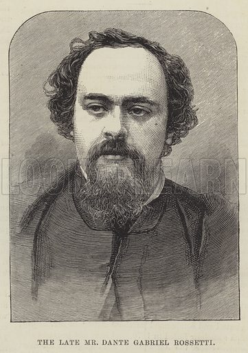 The late Mr Dante Gabriel Rossetti. Illustration for The Illustrated London News, 22 April 1882.