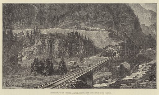 Opening of the St Gothard Railway, Tunnels and Zigzag near Monte Piottino. Illustration for The Illustrated London News, 27 May 1882.