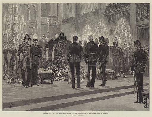 Funeral Service for the late Prince Charles of Prussia, in the Domkirche, at Berlin. Illustration for The Illustrated London News, 3 February 1883.